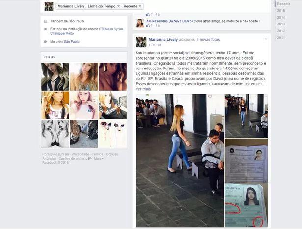 Página de Marianna Lively no Facebook com desabafo feito pela adolescente sobre o caso (Foto: Reprodução/Arquivo pessoal)