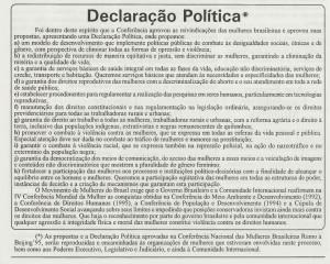 Declaração da Conferência Nacional das Mulheres Brasileiras Rumo a Beijing'95 (reprodução do jornal Fêmea-Junho/1995).